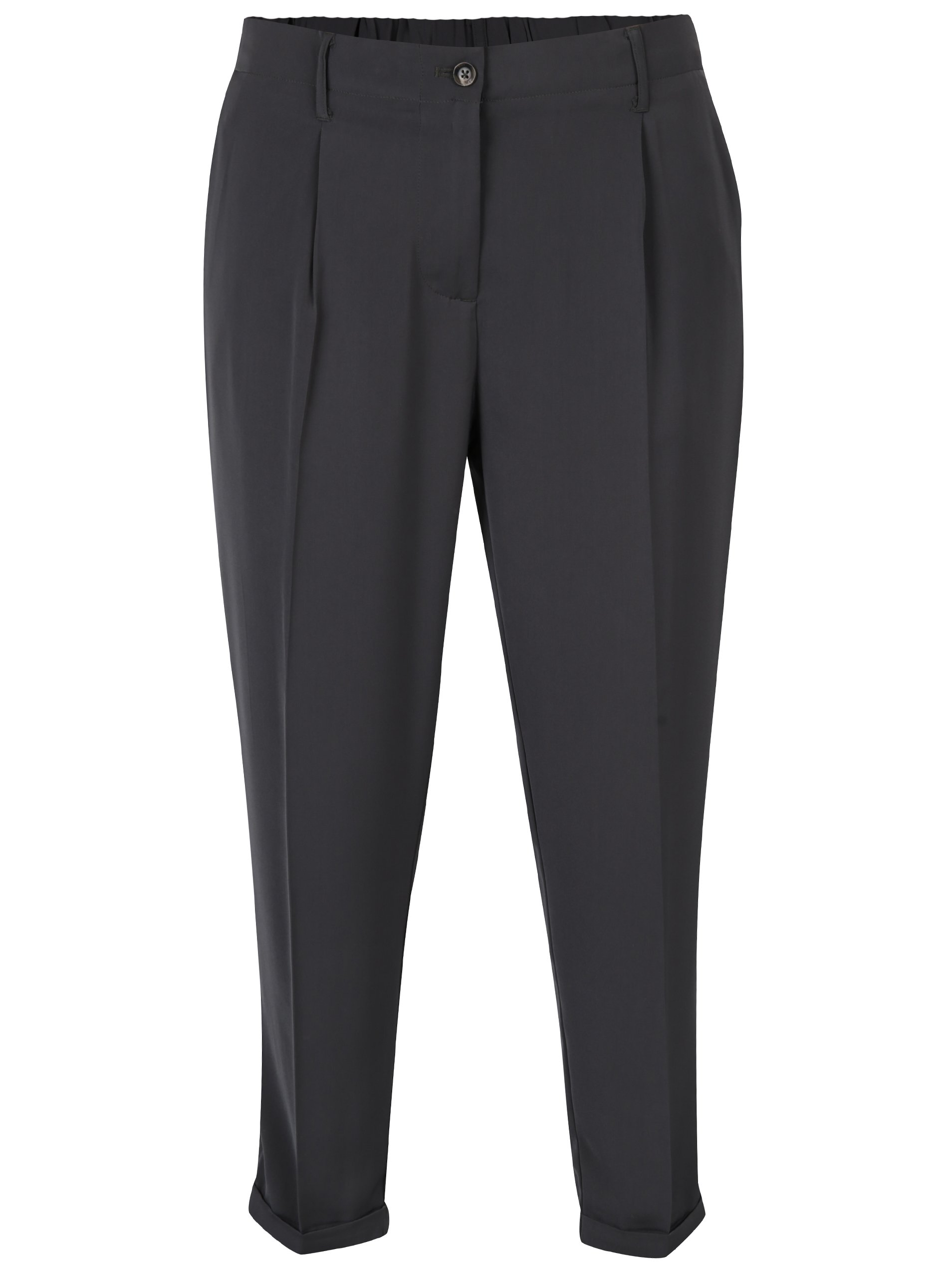 Tmavosivé dámske voľné skrátené nohavice s vysokým pásom Broadway Lilou 0dbb65f541c