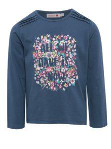 Tmavomodré dievčenské tričko s kvetovanou potlačou BÓBOLI