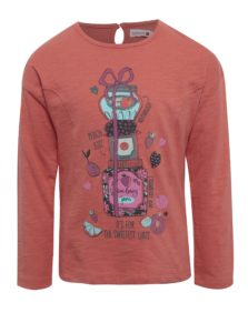 Koralové dievčenské tričko s potlačou a dlhým rukávom BÓBOLI