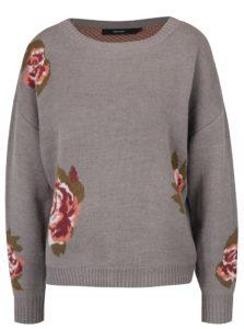 Sivý kvetovaný sveter VERO MODA Belmont