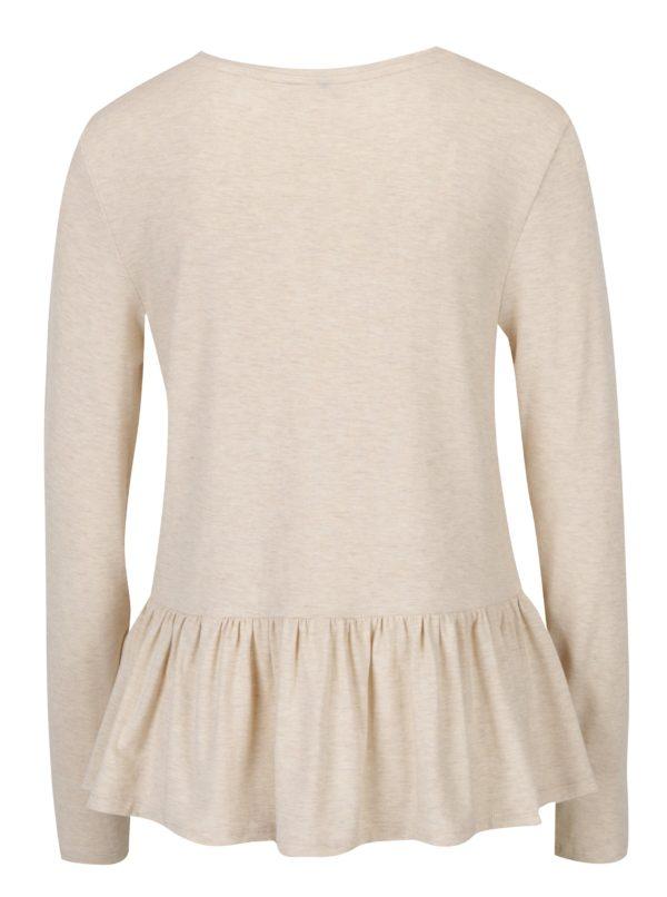 Béžové žíhané tričko s volánom ONLY Olivia