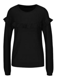 Čierny sveter s volánom VERO MODA Galtine