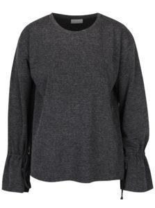 Tmavosivý melírovaný tenký sveter so šnúrkami VILA Ammie