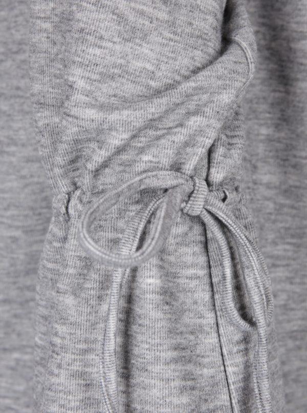 Sivý melírovaný tenky sveter so šnúrkami VILA Ammie
