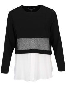 Krémovo-čierny mikinový top so všitou košeľou Ulla Popken