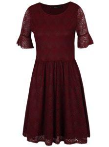 Vínové čipkované šaty VERO MODA Majse