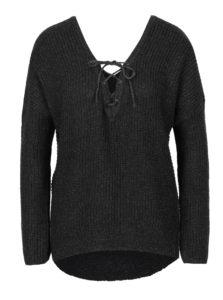 Tmavosivý melírovaný sveter so šnurovaním v dekolte ONLY Peyton