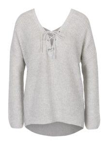Svetlosivý melírovaný sveter so šnurovaním v dekolte ONLY Peyton