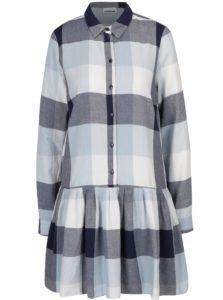 Modré voľné kockované košeľové šaty Noisy May Erik