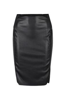 Čierna puzdrová koženková sukňa VERO MODA Rib