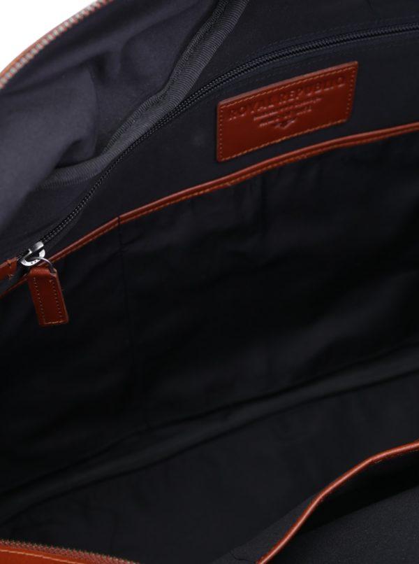 Hnedá pánska kožená cestovná taška s vreckami Royal RepubliQ