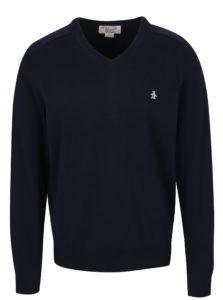 Tmavomodrý sveter s véčkovým výstrihom Original Penguin Chester