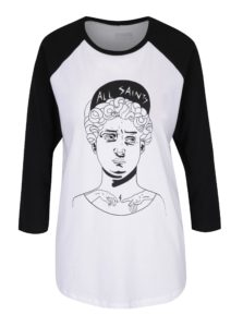 Čierno-biele unisex tričko s 3/4 rukávom ZOOT Originál David socha
