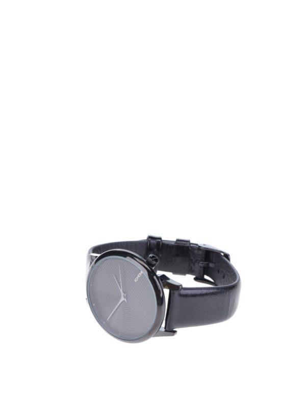Unisex hodinky v čiernej farbe s koženým čiernym remienkom Komono Estelle Deco