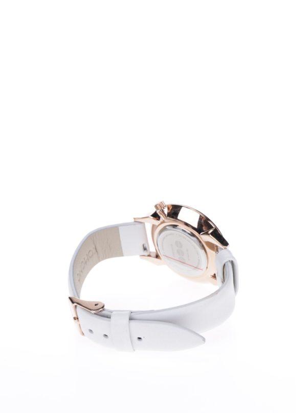 Dámske hodinky v ružovozlatej farbe s bielym koženým remienkom Komono Estelle Deco