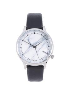 Vzorované unisex hodinky v striebornej farbe s čiernym koženým remienkom Komono Estelle Marble