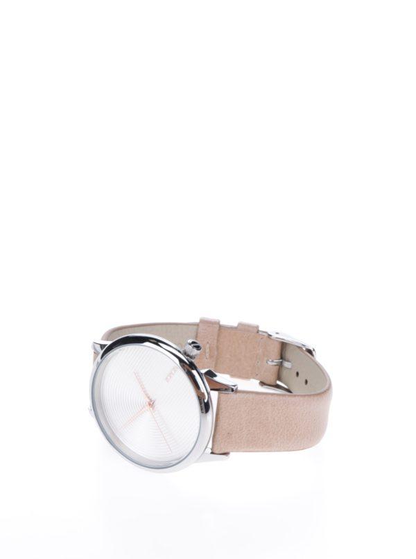 Dámske hodinky v striebornej farbe s béžovým koženým remienkom Komono Estelle Deco