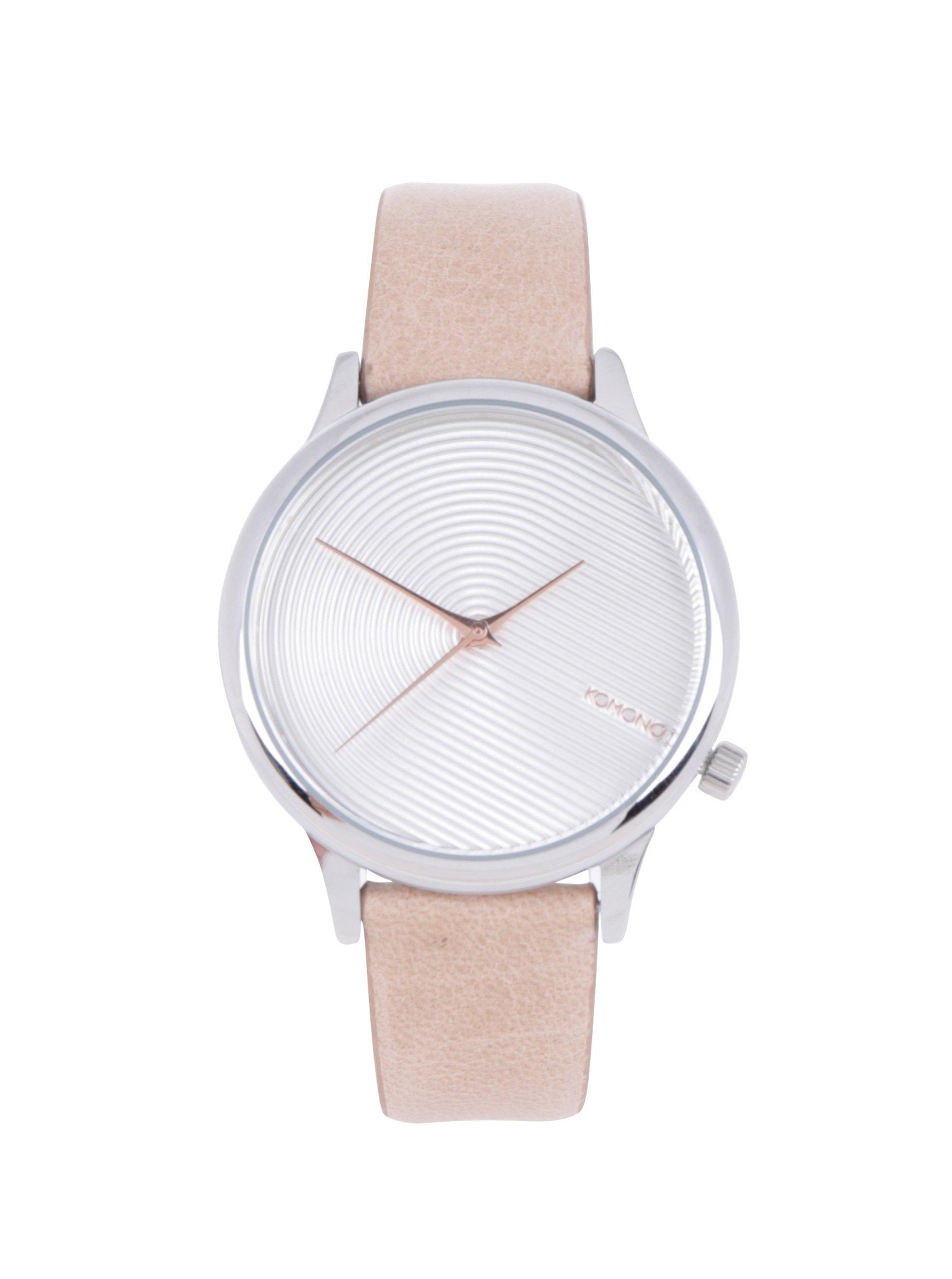 Dámske hodinky v striebornej farbe s béžovým koženým remienkom Komono  Estelle Deco af0db314c79