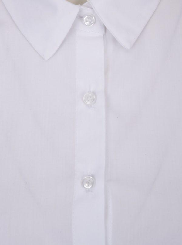 Biela dámska voľná krátka košeľa so zaväzovaním na chrbte DÉCCADA