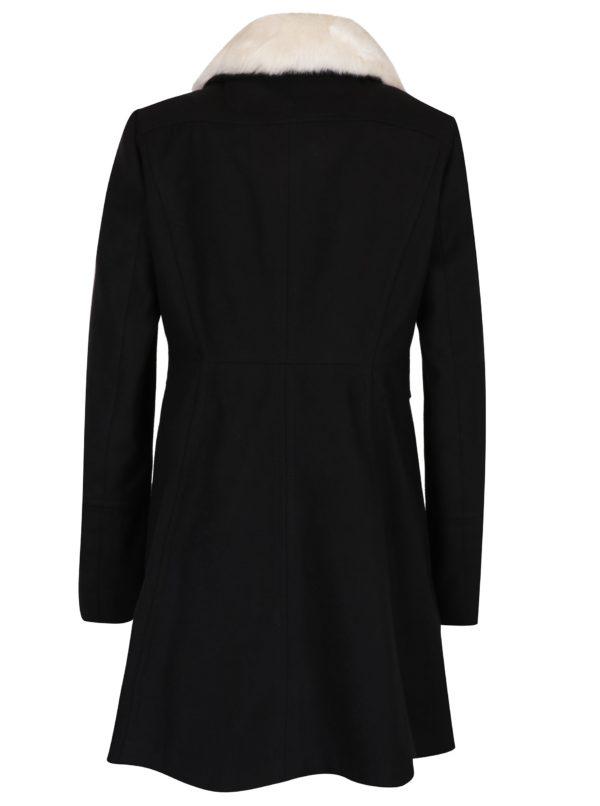 Čierny kabát s umelou kožušinou Dorothy Perkins