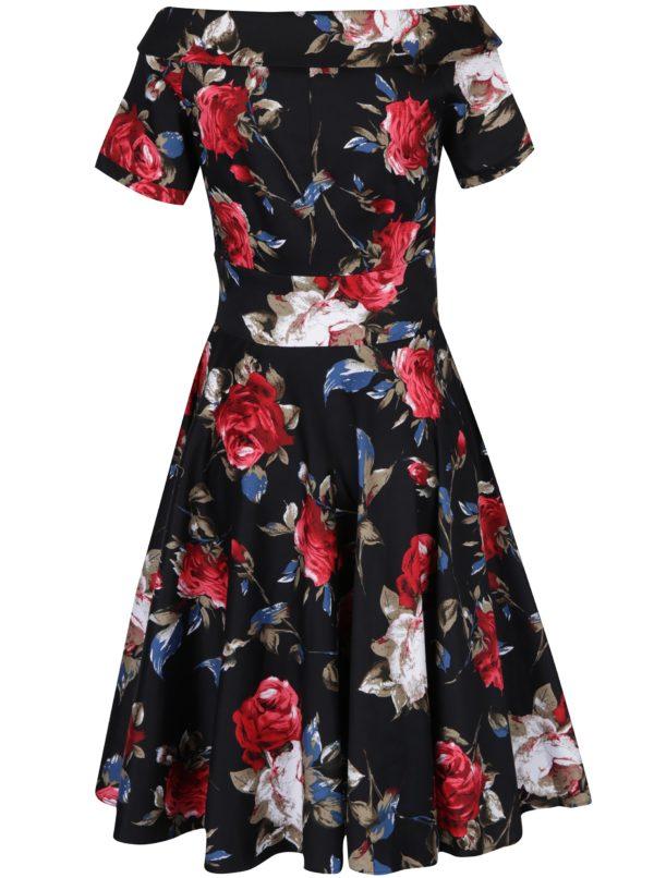 Čierne kvetované šaty s rukávnikmi Dolly & Dotty Darlene