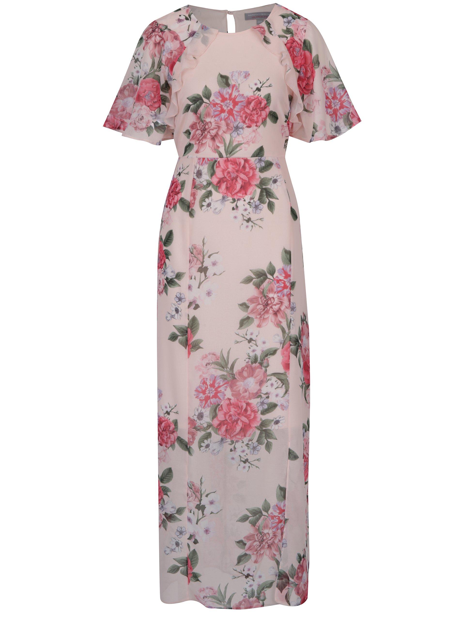 f57aeec73a5a Ružové kvetované maxišaty s rozparkom Dorothy Perkins Petite