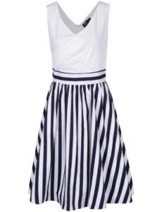 Bielo-modré pruhované šaty s prekríženým dekoltom Dolly & Dotty May