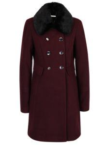 Vínový kabát s umelou kožušinou Dorothy Perkins