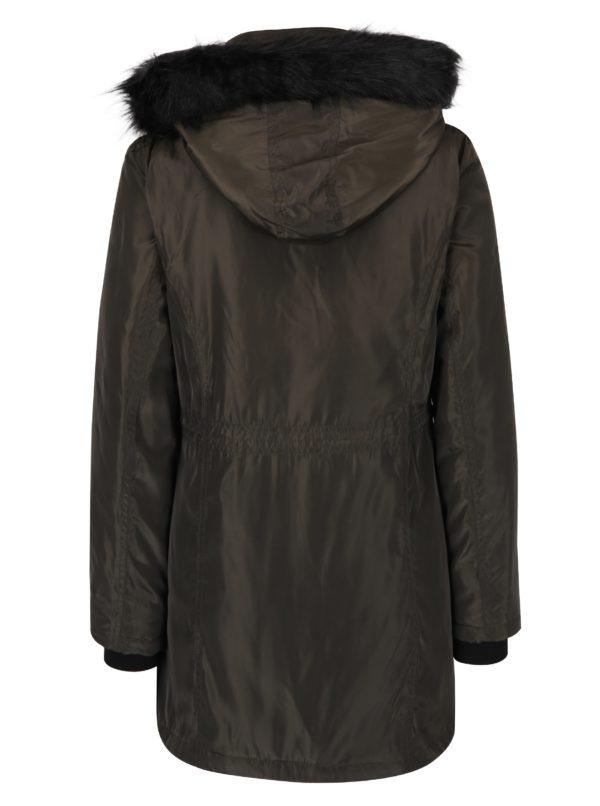 Kaki zimná parka s kapucňou a umelým kožúškom Dorothy Perkins