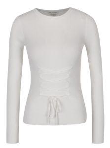 Krémový sveter so šnurovaním Miss Selfridge