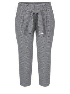 Čierno-krémové skrátené vzorované nohavice Dorothy Perkins Petite