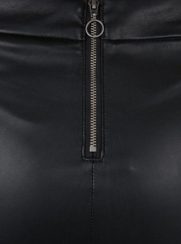 Čierne koženkové legíny VERO MODA Sevena