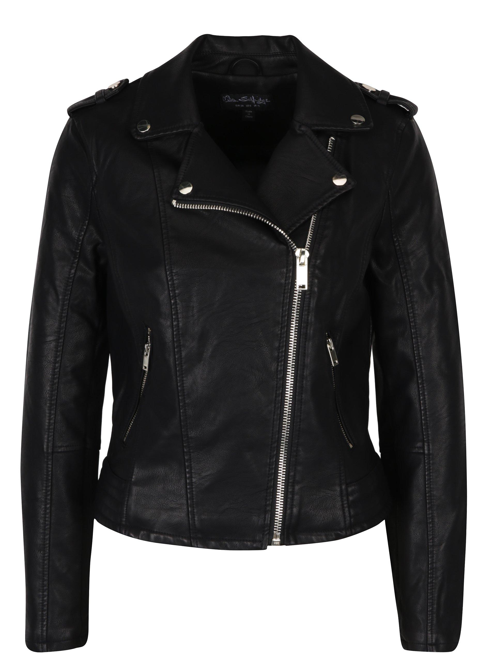 a82880b0e53 Čierna koženková bunda Miss Selfridge