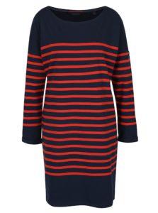 Modro-červené pruhované oversize šaty s dlhým rukávom Scotch & Soda