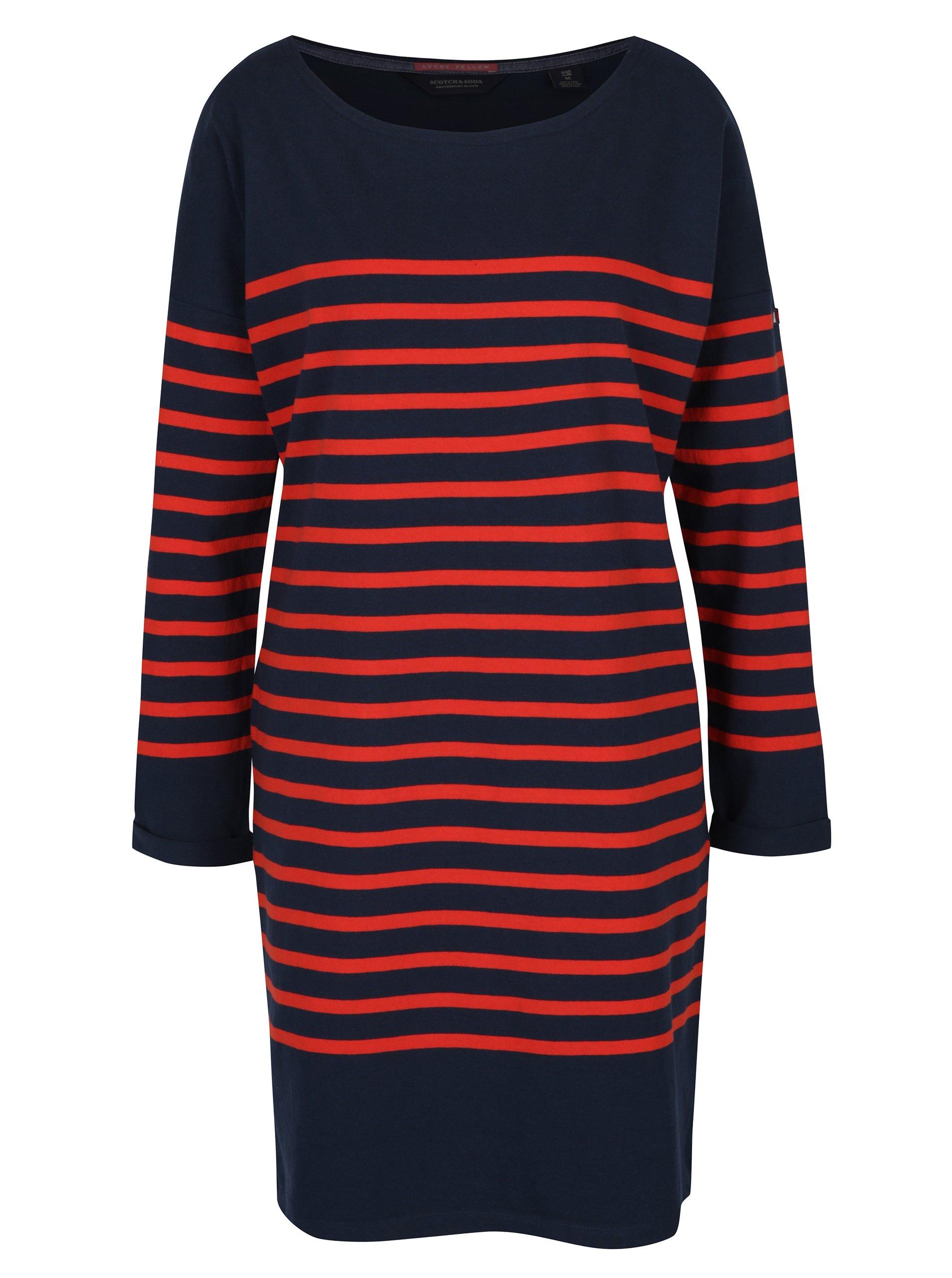 Modro-červené pruhované oversize šaty s dlhým rukávom Scotch   Soda ... 6b439e4436a