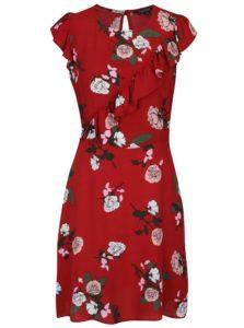 Červené kvetované šaty s volánmi Miss Selfridge