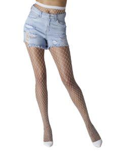 Biele sieťované pančuchové nohavice Gipsy