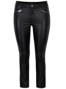 Čierne lesklé skinny nohavice s ozdobnými zipsami Dorothy Perkins