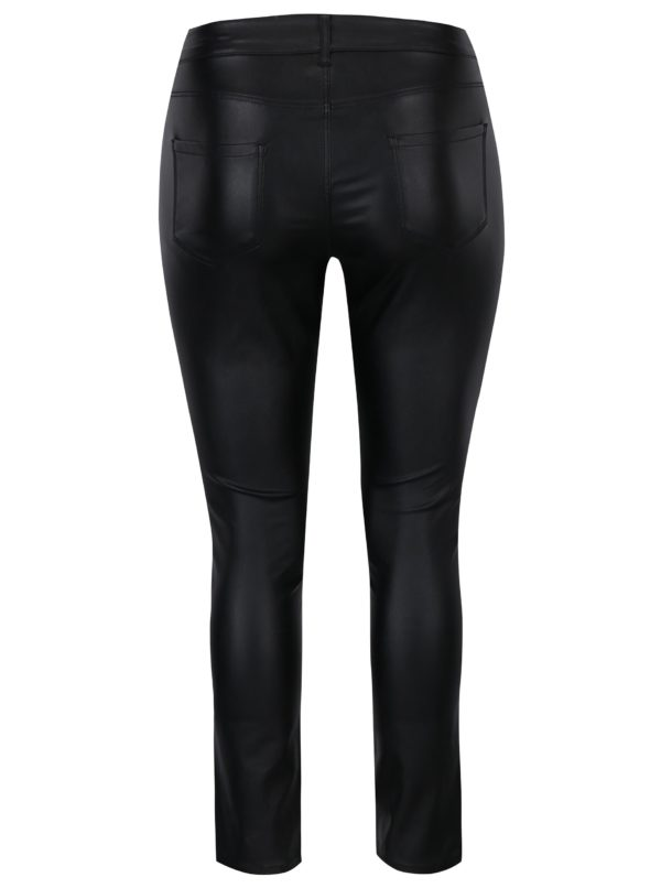 adadd9b4dda4 Čierne lesklé skinny nohavice s ozdobnými zipsami Dorothy Perkins ...