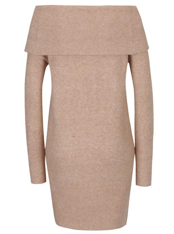 Béžové svetrové šaty s odhalenými ramenami Dorothy Perkins