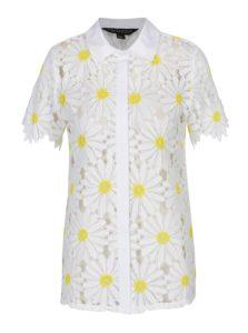 Biela kvetovaná košeľa s krátkym rukávom Dorothy Perkins