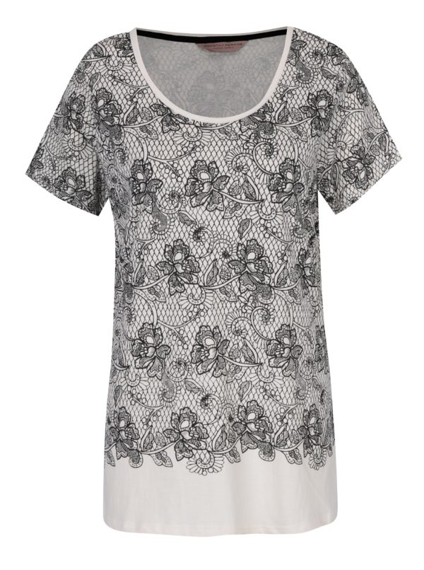 Krémové vzorované pyžamové tričko Dorothy Perkins