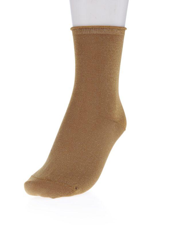 Svetlohnedé ponožky s odleskmi v zlatej farbe Selected Femme Lucy