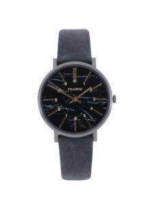 Tmavosivé hodinky s koženým remienkom Pilgrim