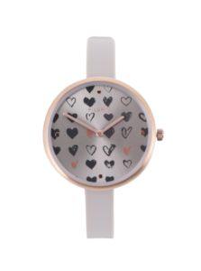 Pozlátené hodinky v ružovozlatej farbe so silikónovým remienkom Pilgrim