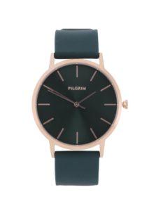 Pozlátené hodinky v ružovozlatej farbe so zeleným silikónovým remienkom Pilgrim