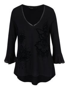 Čierne tričko s 3/4 volánovými rukávmi Desigual Masi