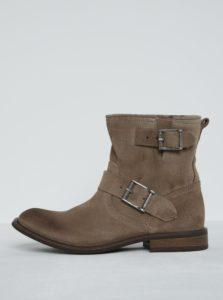 Béžové semišové členkové topánky s prackami Pieces Petti