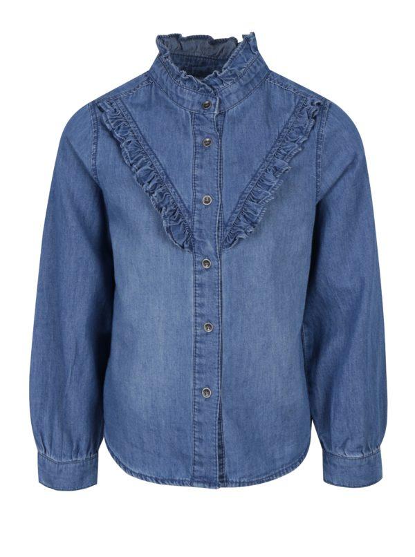 Modrá rifľová dievčenská košeľa s dlhým rukávom name it Awanal