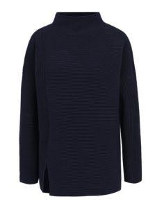 Tmavomodrý voľný rebrovaný sveter s rozparkom French Connection Sunday